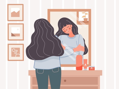 hug yourself girl illustrator landingpage flat vector art illustration