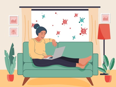 work from home girl vector landingpage flat art design illustration