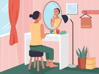 skincare routine vector girl flat landingpage art design illustration