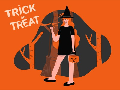 happy halloween illustrator girl vector landingpage flat art design illustration