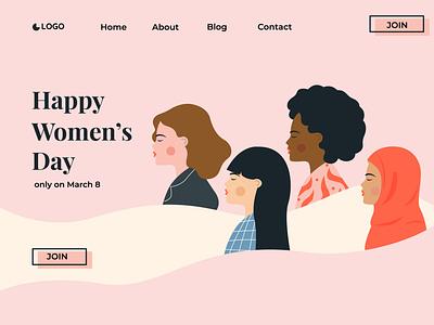 women's day landing page illustration design template illustrator girl vector flat art design illustration