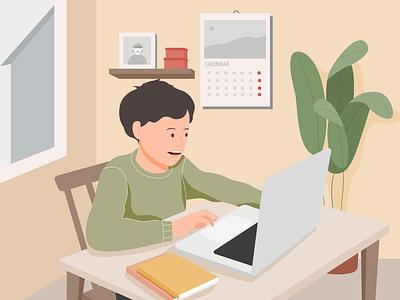 School from home, online school landingpage vector flat art design illustration