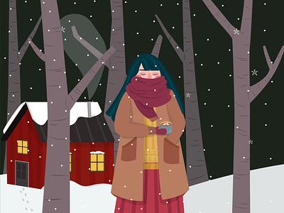the beauty of snow fall art design illustration