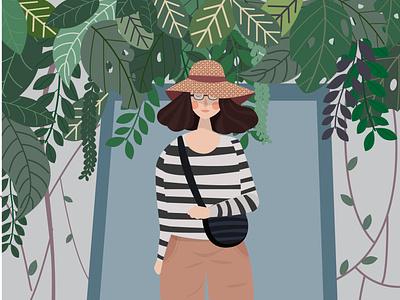 girl and wild plant illustration design art