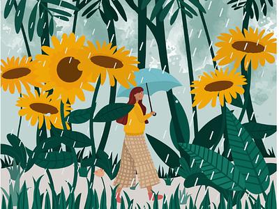 The borrower garden drawing vector girl flat illustration