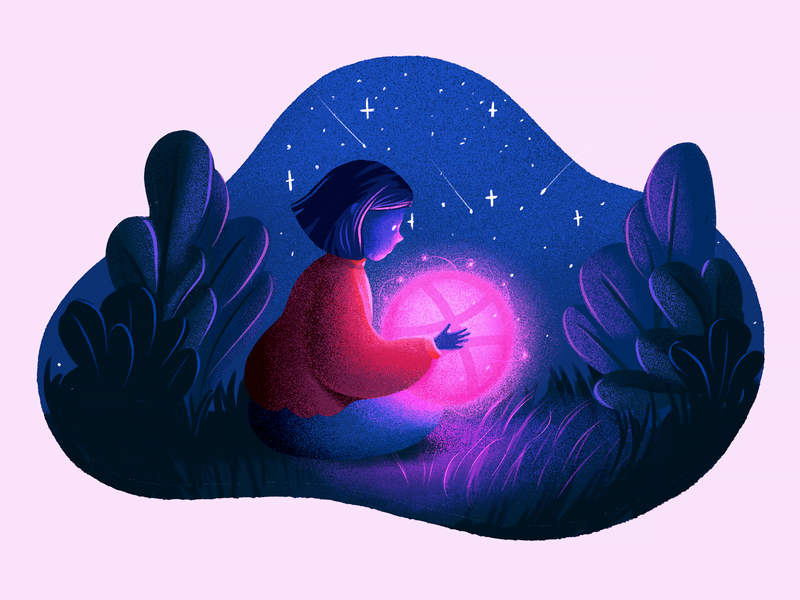 hello, dribbble! stars light night illustration firstshot first shot hello dribbble