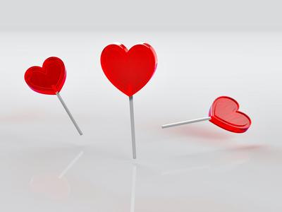 [No. 23]  Heart Lollipops, Remixed: 3D