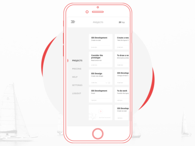 Mobile Projects red white dribbble iphone design mobile calendar minimal