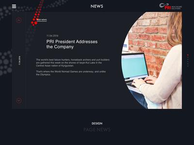 PRI. News. ux ui black pills web-design site minimal