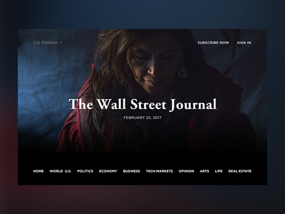 The Wall Street Journal. Concept photoshop web typography site minimal follow financial design corporate business