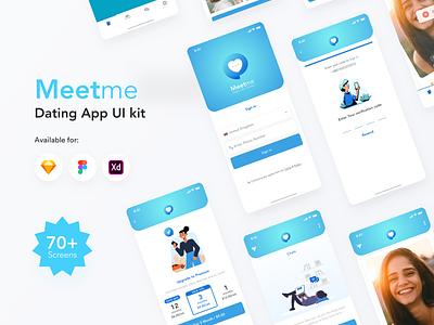 MeetMe app UI kit dating website dating app dating ui kit ui kit kit dating illustration ios android mobile branding app typography design ux ui
