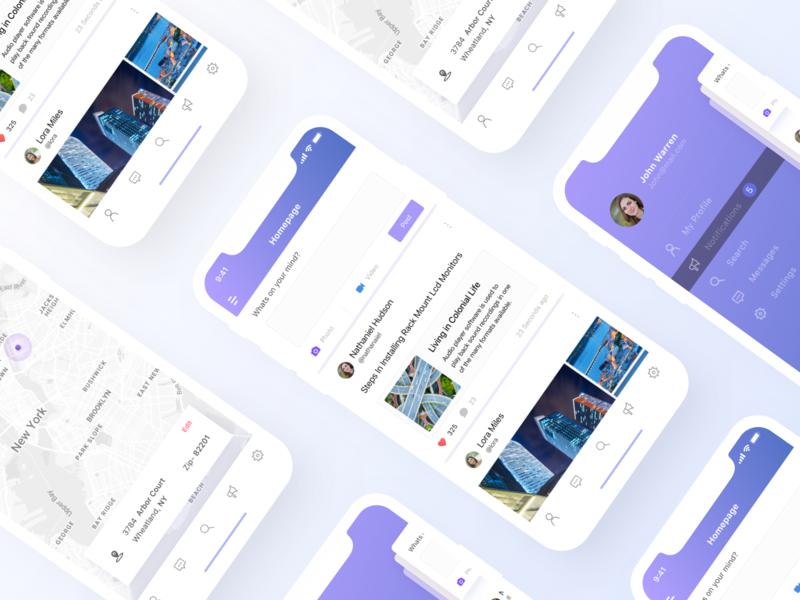 Social App UI clean ironsketch branding mobile design ios app android redesign ux ui