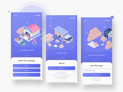 iOS App Intro pages modern app design shipping shipping management ios application ios app design android app design android app ios app clean icon illustration mobile ios android typography app design redesign ux ui