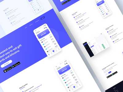 Financial App Landing Pgae mobile branding website ios android app typography design redesign ux ui