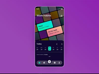 Rebound shot for Habit builder app by Tubik habit tracker tubik ui dark theme habit builder