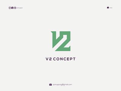 v2 concept ponuppo logotype letter logomaker logodesign modern logo design logo brand design awesome logo branding