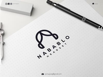 Nabablo Headset clean design minimalist logo logo design ux ui monogram letter mark monogram logo letter logotype logomaker logodesign logo modern logo design brand design awesome logo branding