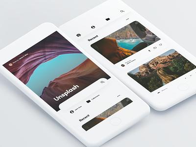 Unsplash Concept - Homepage app web simple minimal clean material interface ux ui unsplash