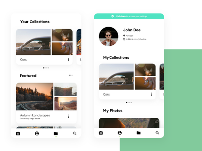 Unplash Concept - Profile & Collections redesign web minimal ux unsplash ui interface clean app