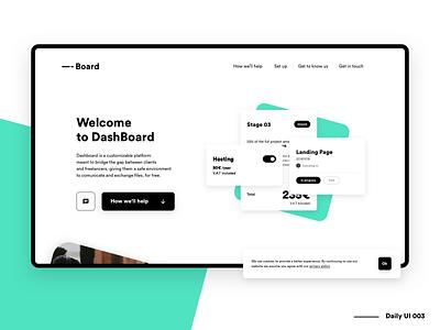 Dashboard - Landing Page - DailyUi 003 web ux ui platform minimalist minimal interface app dashboard dash dailyui daily clean app landing landing page