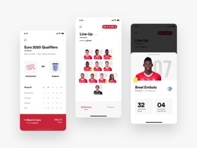 Football Federation App - Dashboard, Lineup and Players