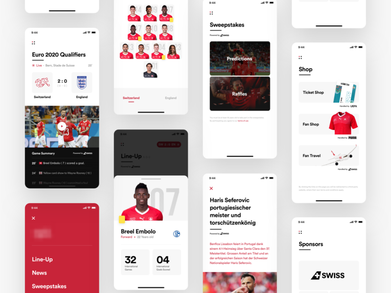 Football Federation App - Overview product design ui live article feed game status scores shop team sports soccer minimalist minimal interface football dashboard dash clean app