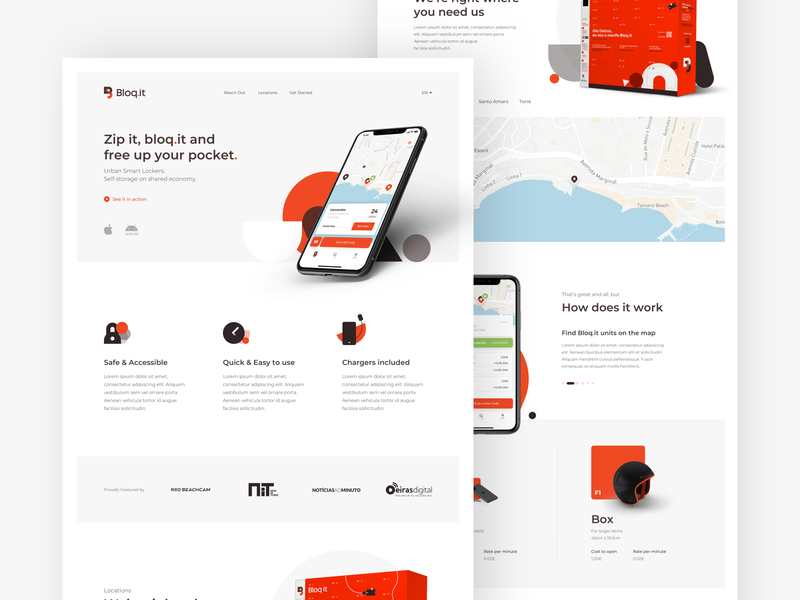 Bloq.it - Website redesign android ios clean minimalist hero app lockers sponsors media pricing map icons shapes minimal ui ux page landing website