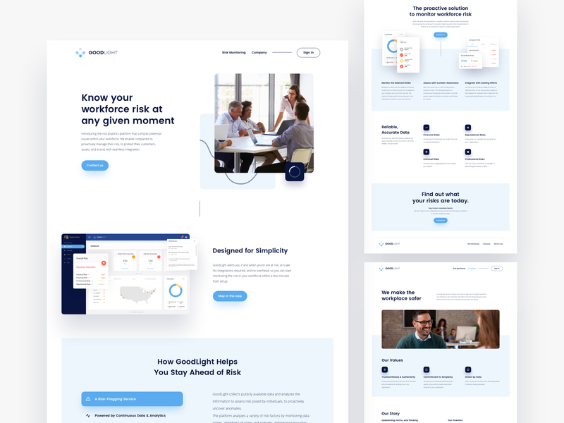 GoodLight - Website Redesign blue media corporate web charts home about dashboard platform website ux ui stats graphs page minimalist minimal risk landing clean