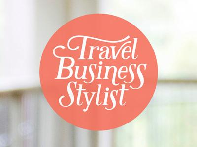 Travel Business Stylist logo circle orange lettering