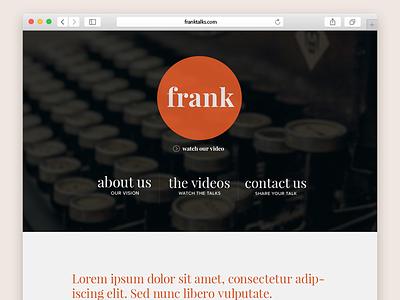 Frank Talks Website Design classy orange header website
