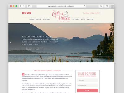 Endless Wellness Travel Website web design mockup elegant pink feminine website