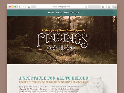 Findings Co. Website web design website lettering hand-lettered victorian