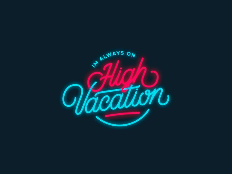 High vacation american vintage retro 90s vector typography type script logo glow branding brand