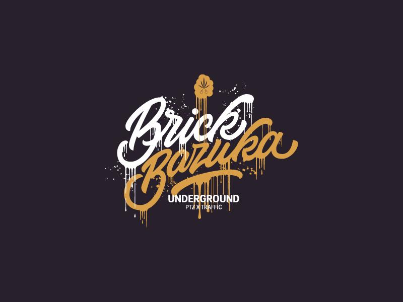 Brick Bazuka vintage vector typography type script retro logo glow branding brand american 90s