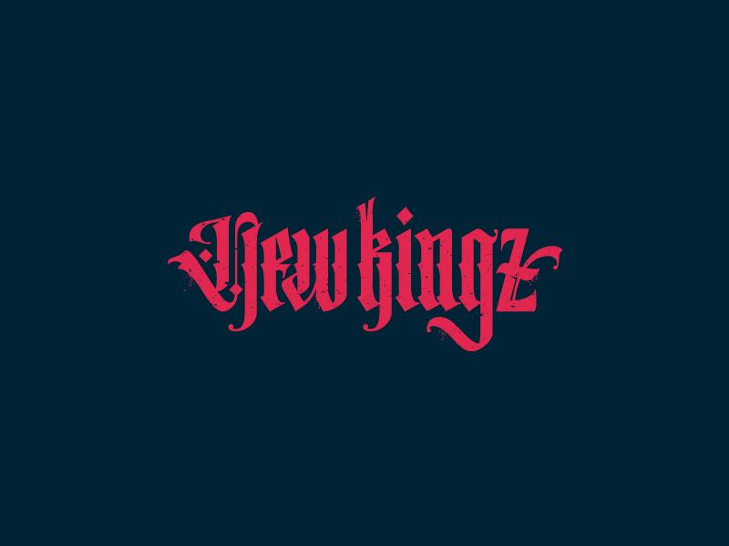 New kingz logotype vintage vector typography type script retro logo glow branding brand gothic