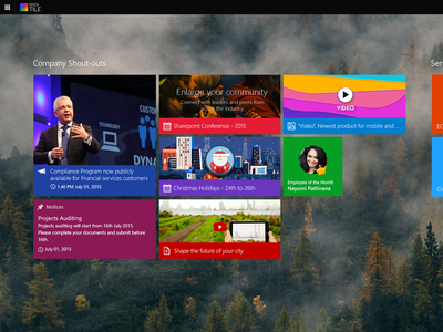 Ocutile App home organization minimal internal portals tiles sharepoint windows 8 metro ui concept
