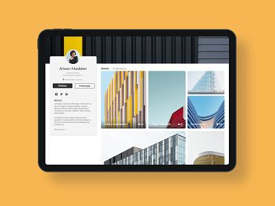 Profile Page- Daily UI 006 minimal ipad pro ux ui photography