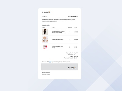 Email receipt- Daily UI #017 minimal userexperience webdesign uidesign userinterfacedesign dailyui email receipt jumia ux ui