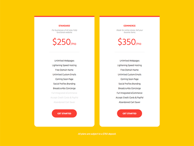 breadcrumbs Pricing Page features tiers yellow pricing page web design breadcrumbs