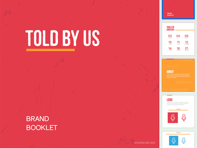 Told By Us Brand Booklet logo brand guideline tbu