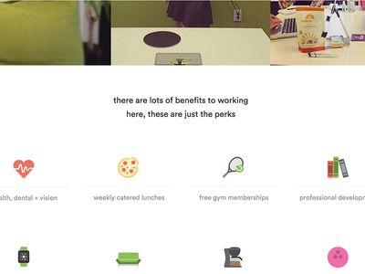 Perks & benefits benefits boogie culture tennis bowling uiux icons pizza careers page perks and benefits