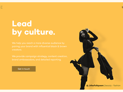 SHADE brand page - Lead by culture simple bright colors landing page web design ux ui aicha diverse marketing boogie influencer marketing shade