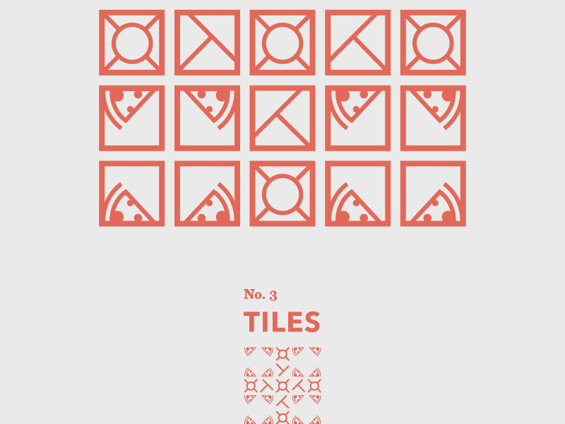 Tiles: No. 3 pizza travel shapes abstract geometric tiles