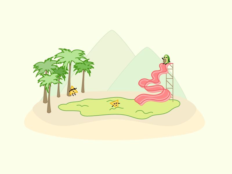Bacon Slide character design visual cartoon theme park illustration art food avocado