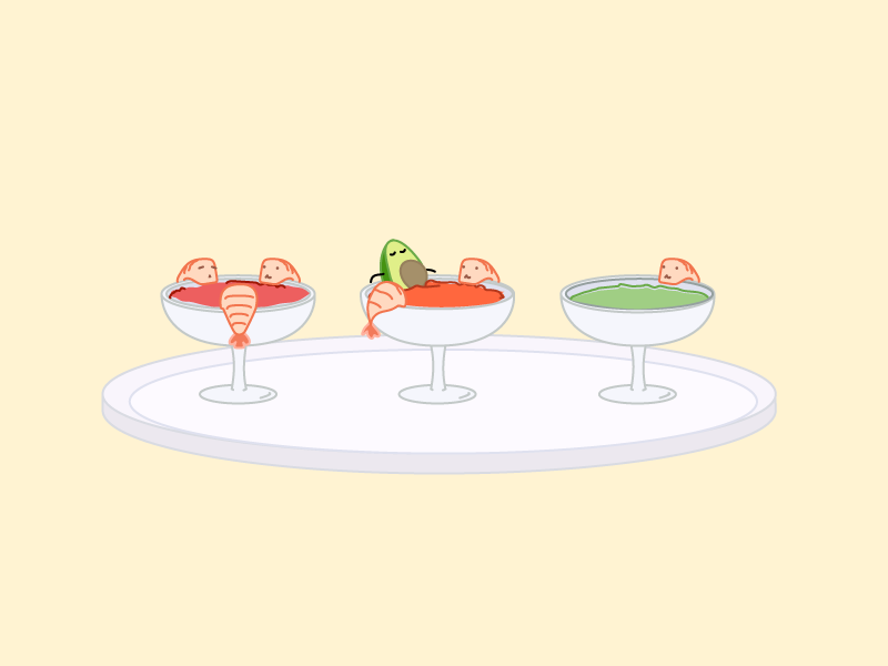 Shrimp Cocktail visual theme park illustration food character design cartoon avocado devious art