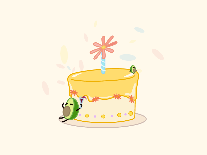 Happy Birthday visual theme park illustration food character design cartoon avocado event art