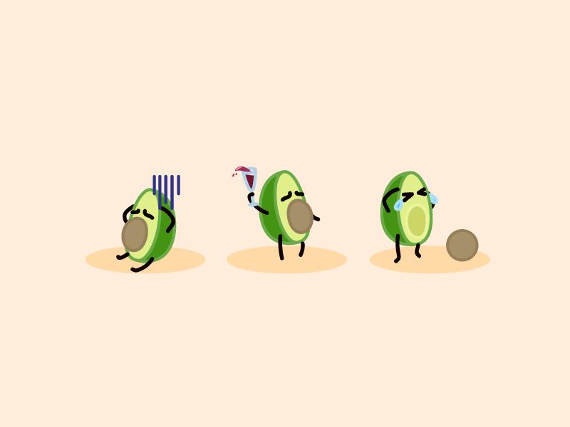 Many Feelings character design visual cartoon theme park illustration art food avocado