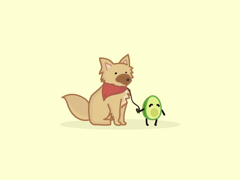 Walking the Avo illustrator visual theme park illustration food daily character design cartoon avo avocado art