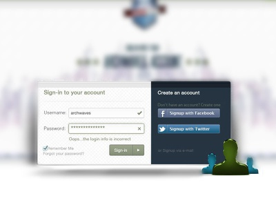 Sign in Form | Social Network login sign in form social network