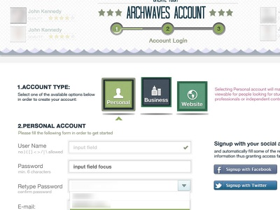 Account Type user account signup type selection ui user interface